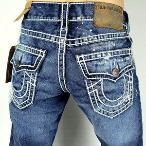 TRUE RELIGION 42 NWT Ricky Ropestitch Bleach Jeans